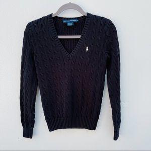 Ralph Lauren cable knit sweater black medium